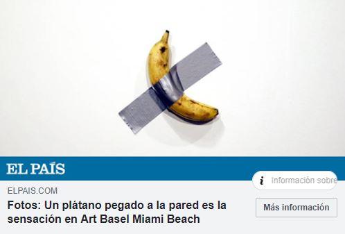 Un plátano pegado a una pared